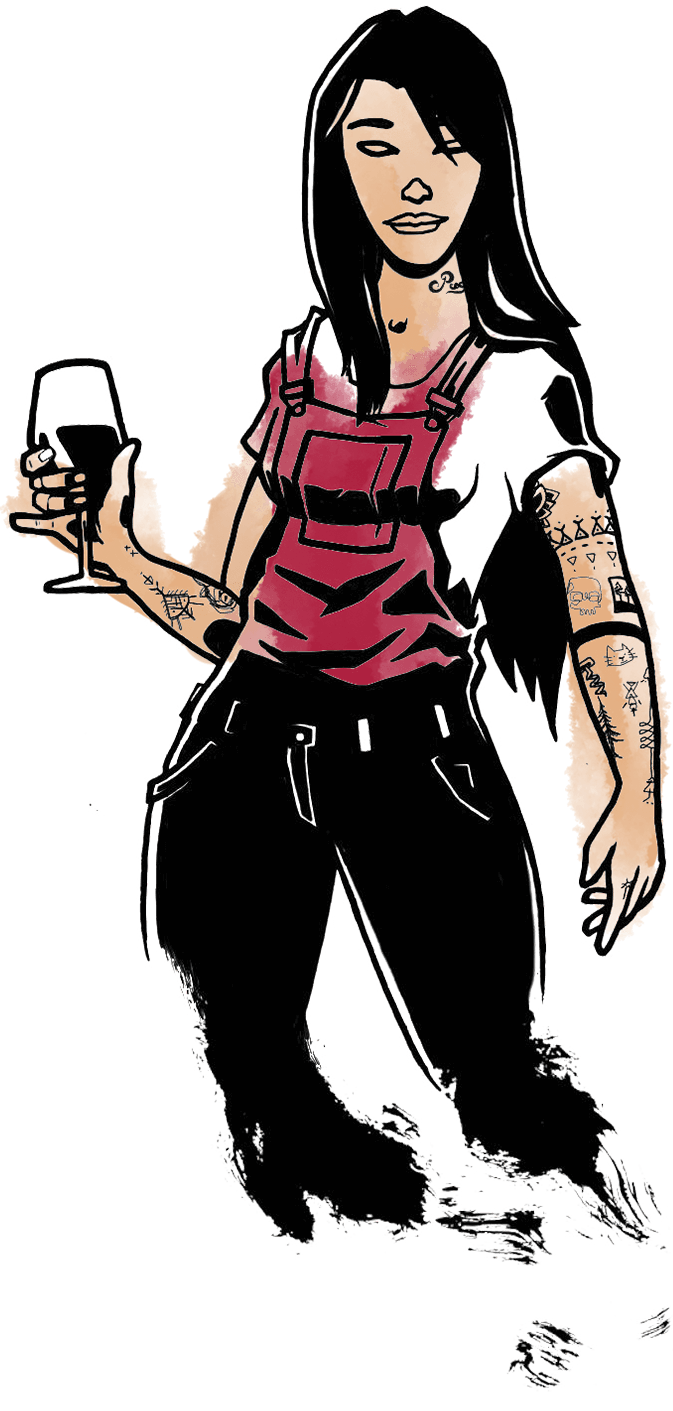 Illustration représentant une sommellière.