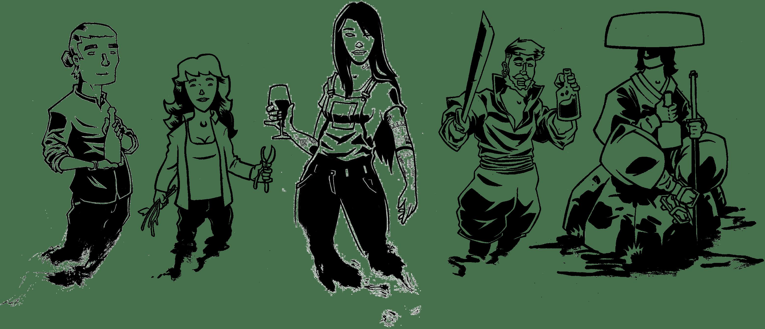 Illustration représentant de gauche à droite : un sommelier, une vigneronne, une sommellière, un pirate et un samouraï.