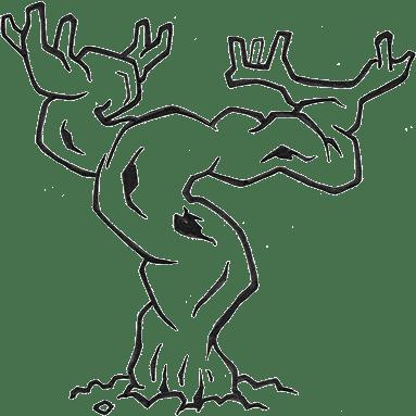 Illustration d'une vigne en hiver.