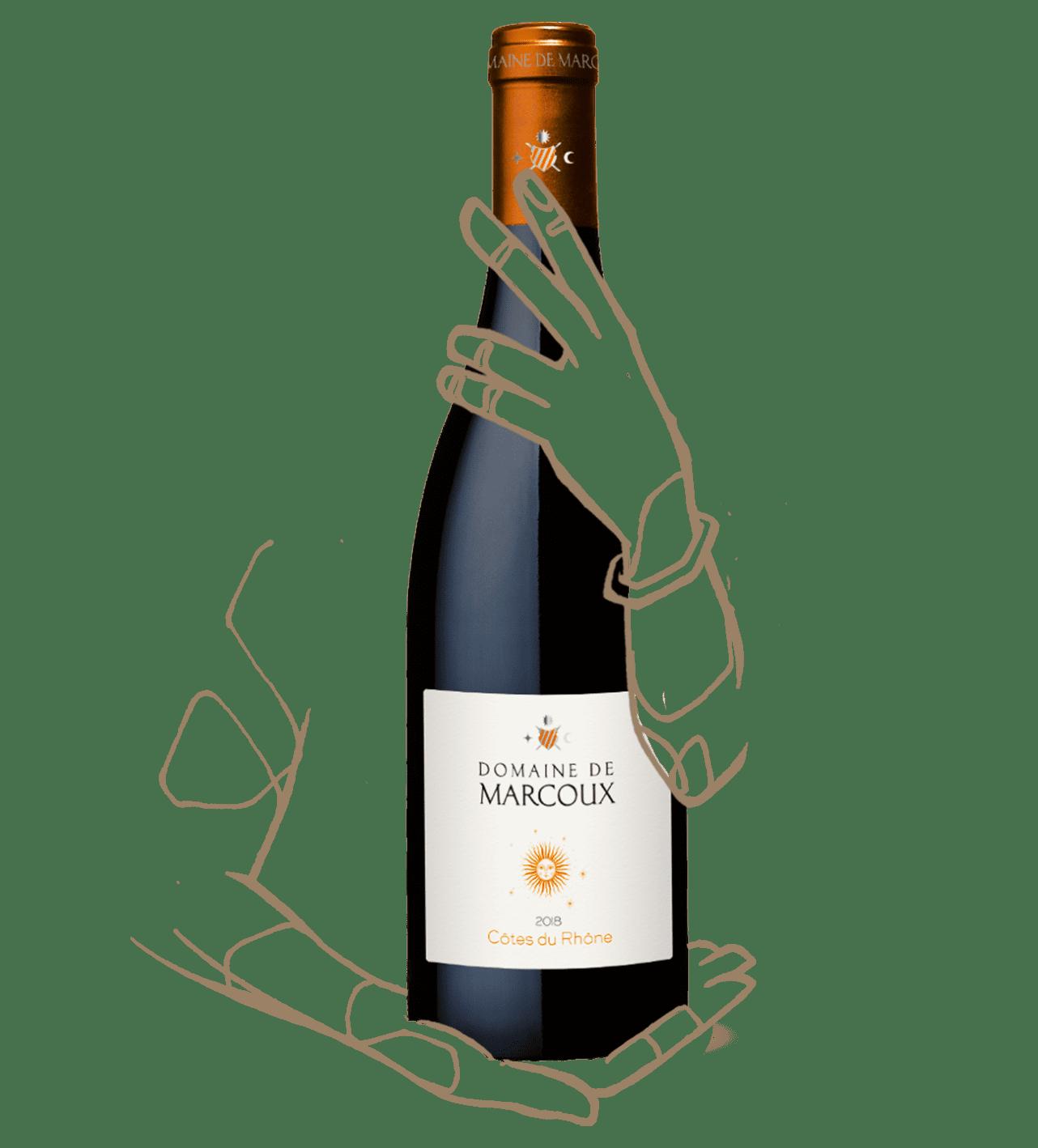 un côte du rhone du domaine marcoux, un vin rouge naturel