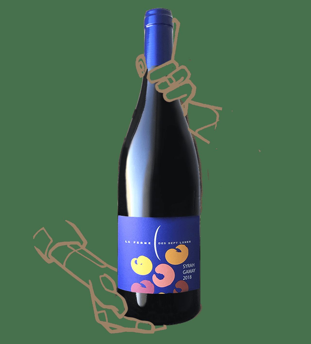 Le syrah-gamay du domaines des 7 lunes est un vin naturel sans sulfite ajouté de Saint Joseph