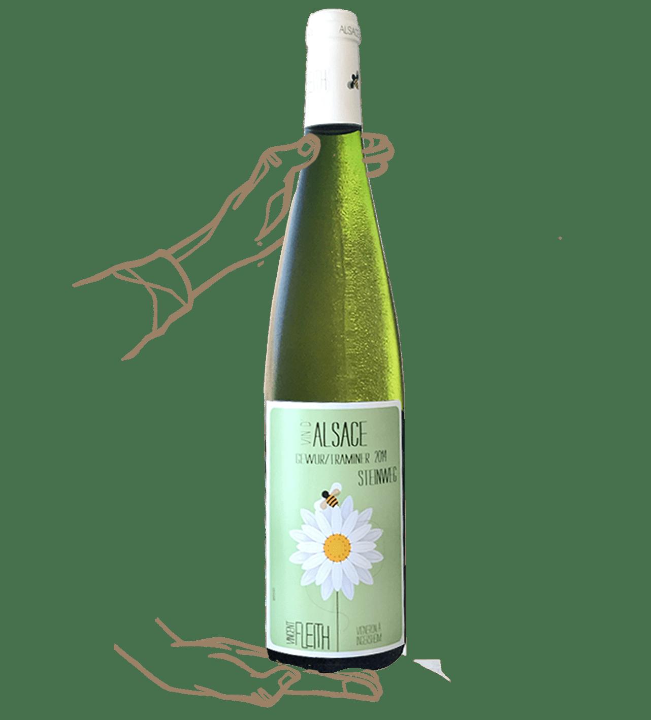 Gewurztraminer Steinwegde Vincent Fleith est un vin blanc biodynamique d'Alsace