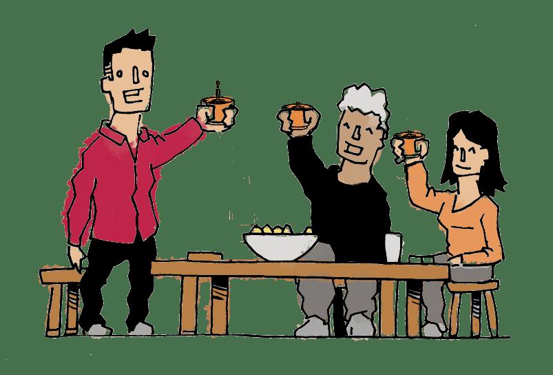 Dessin thé pu erh des copains