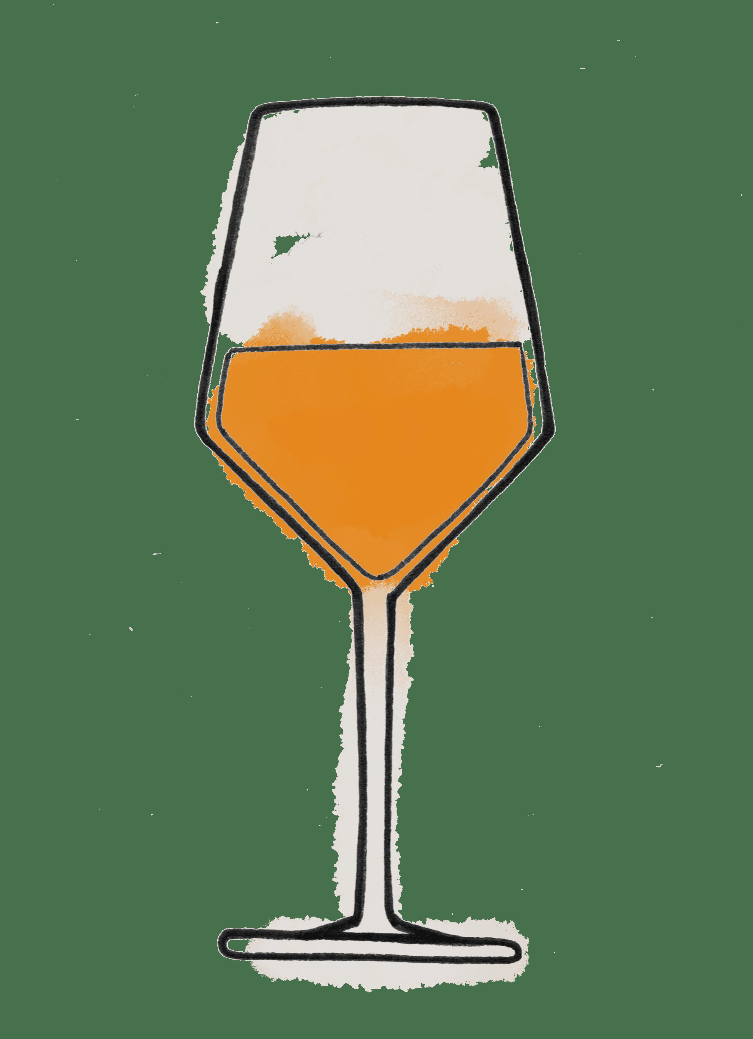 Dessin verre de vin orange